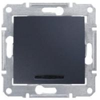 Одноклавишный перекрестный переключатель с подсветкой 10A серии Sedna. Цвет Графит SDN0501170