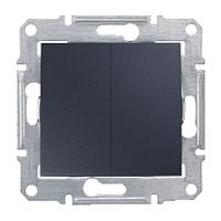 Двухклавишный переключатель 10 A серии Sedna. Цвет Графит SDN0600170