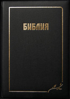Библия, 17х24,5 см, чёрная, кожаная, без индексов, с замком