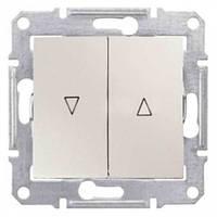 Выключатель для жалюзи с механич. блокировкой 10A серии Sedna. Цвет Слоновая кость SDN1300323