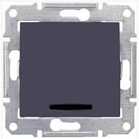 Одноклавишный выключатель с подсветкой 10A серии Sedna. Цвет Графит SDN1400170
