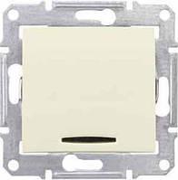 Одноклавишный выключатель с подсветкой 16A серии Sedna. Цвет Слоновая кость SDN1500223
