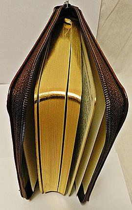 Библия, 13,5х18,5 см., темно-коричневая с орнаментом, с замком, индексами, фото 2