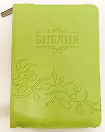 Библия, 13,5х18,5 см., оливковая, с замком, индексами, фото 2