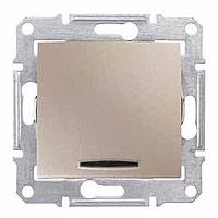 Выключатель кнопочный одноклавишный с подсветкой, Sedna титан, SDN1600168