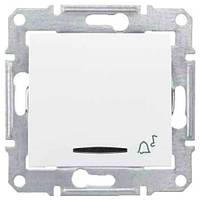 """Кнопочный выключатель с символом """"звонок"""" и подсветкой 10A серии Sedna. Цвет Белый SDN1600421"""