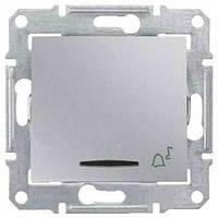 """Кнопочный выключатель с символом """"звонок"""" и подсветкой 10A серии Sedna. Цвет Алюминий SDN1600460"""