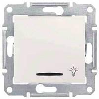 """Кнопочный выключатель с символом """"свет"""" и подсветкой 10A серии Sedna. Цвет слоновая кость SDN1800123"""
