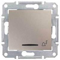 """Кнопочный выключатель с символом """"звонок"""" и подсветкой 10A серии Sedna. Цвет Титан SDN1600468"""