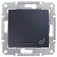 """Кнопочный выключатель с символом """"звонок"""" и подсветкой 10A серии Sedna. Цвет Графит SDN1600470"""