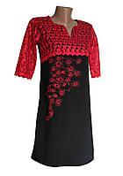 Женское вышитое платье с гипюра в красно-черном цвете