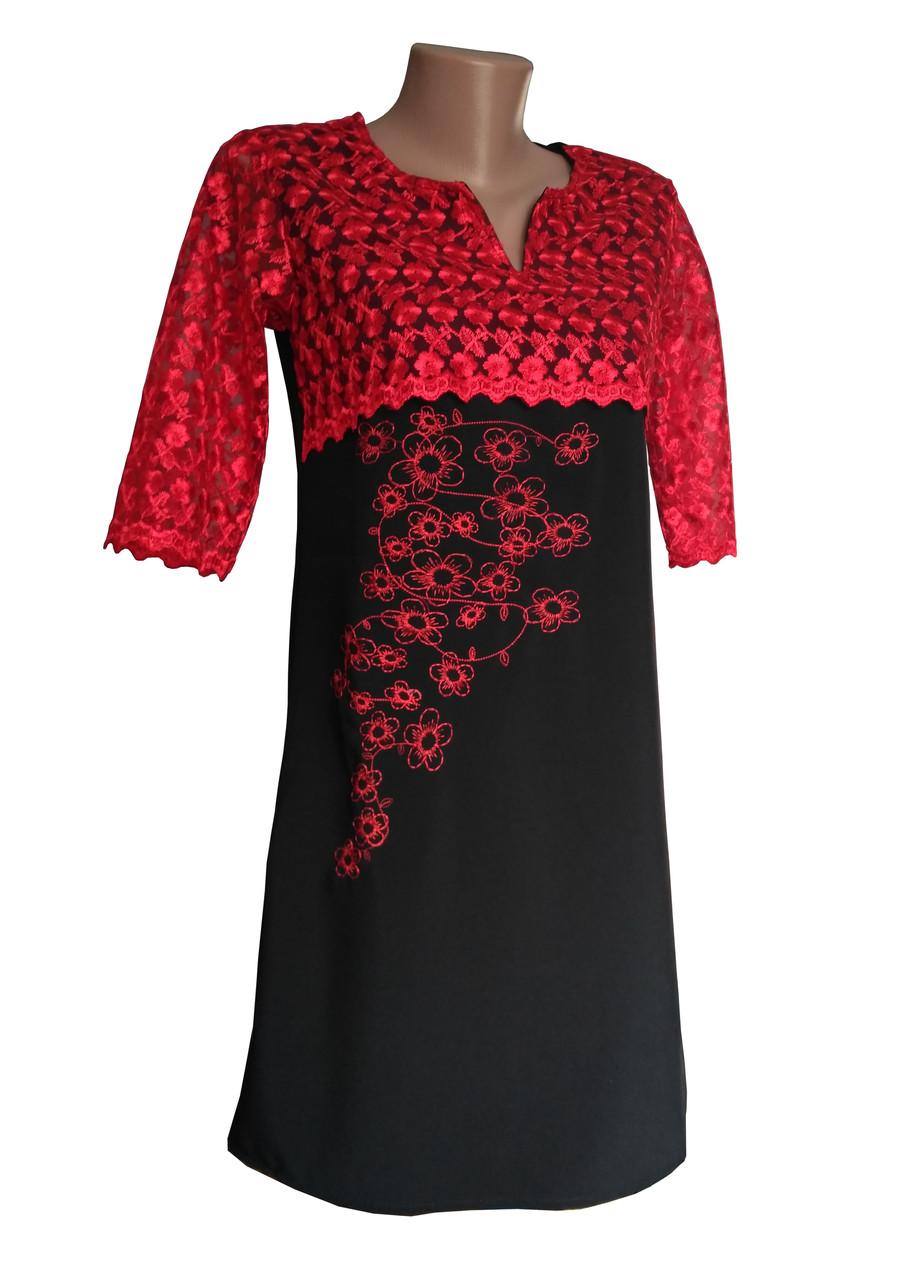 Жіноча вишита сукня із гіпюру в червоно-чорному кольорі