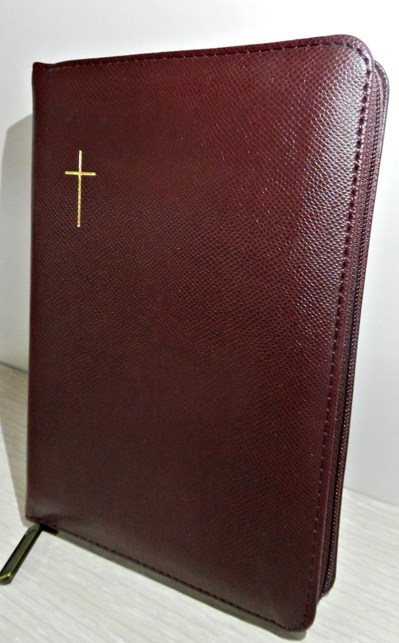 Біблія, 15,5х20,5 см, вишнева з хрестом, з замком, з індексами