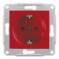 Розетка с заземлением и защитными шторками 16А Sedna. Цвет Красный SDN3000341