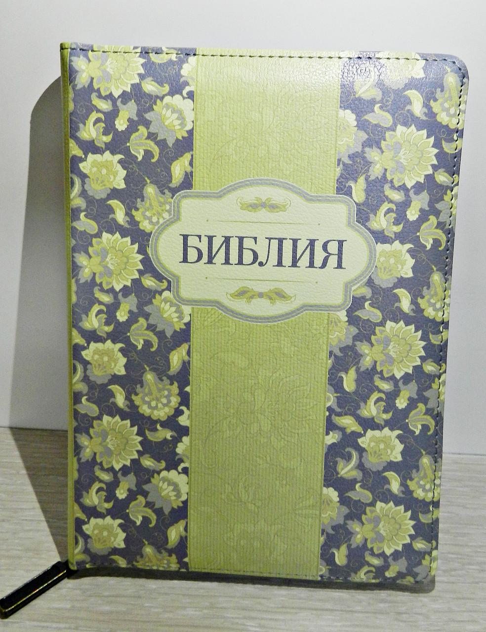 Библия, 14х20,5 см, салатовая с цветами