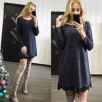 Женское  платье с кружевом, длинный рукав темно-синий