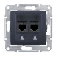 Компьютерная розетка двойная STP RJ45 кат.6 экранированная Sedna. Цвет Графит SDN5000170