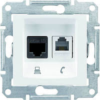 Розетка телефонная+компьютерная, RJ11+ RJ45 кат. 5e UTP неэкранированная серии Sedna Цвет Белый SDN5100121