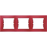 Декоративная рамка 3-постовая горизонтальная Sedna. Цвет Красный SDN5800541