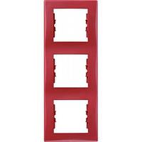 Декоративная рамка 3-постовая вертикальная Sedna. Цвет Красный SDN5801341