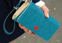 Женский кожаный кошелек визитница клатч синий