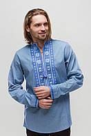 Мужская вышиванка Орий Синяя на джинсе