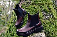 Женские коричневые стильные ботинки челси