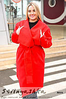 Кашемировое пальто на запах большого размера красное, фото 1
