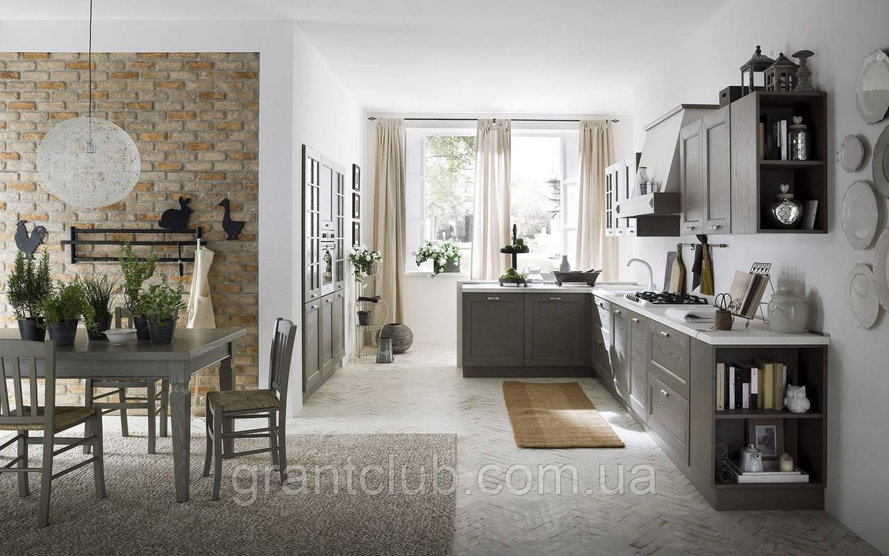 Итальянская современная кухня из натурального дерева в сером цвете модель CRETA GRIGIO фабрика EFFE QUATTRO