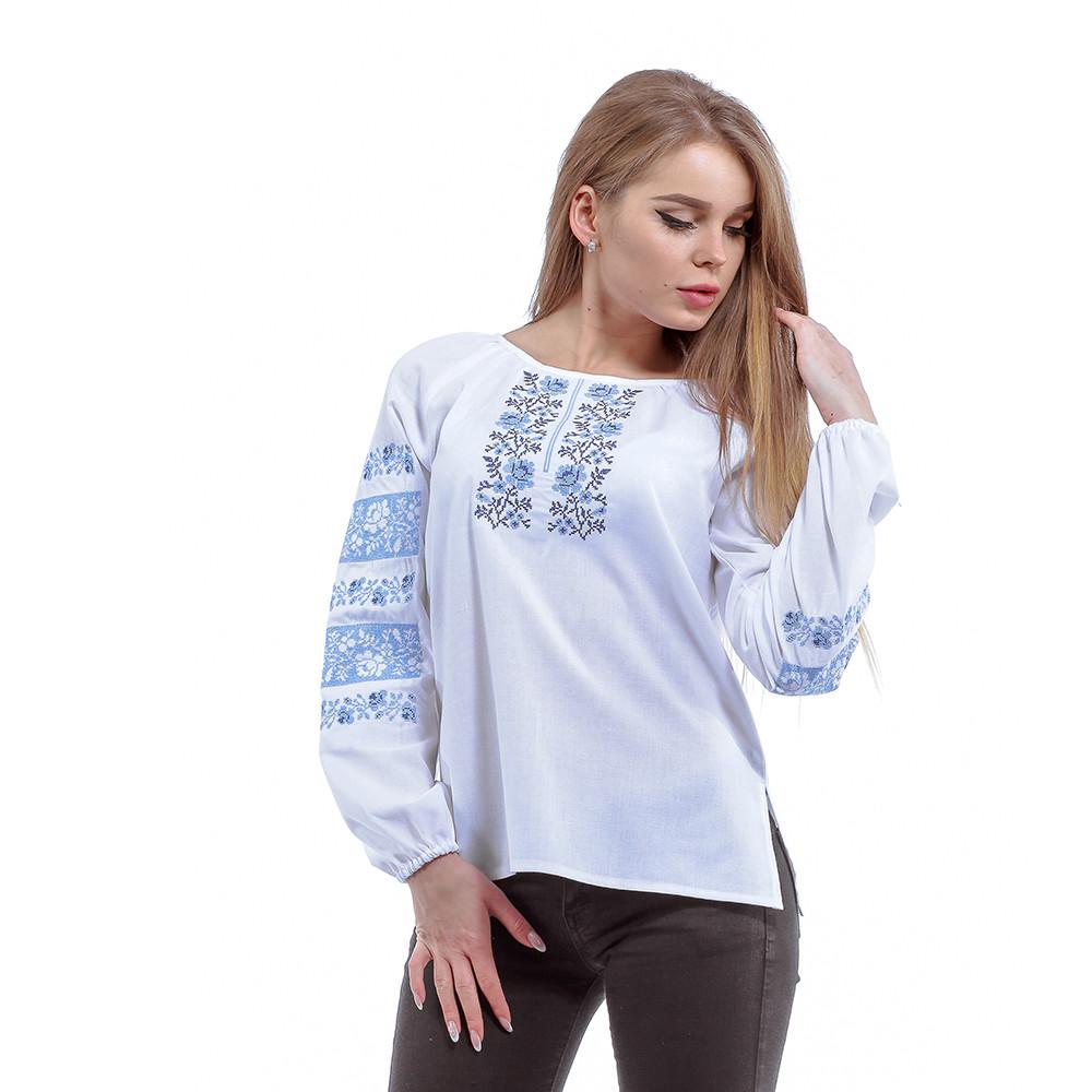 """Вышитая белая блуза на выпуск с длинными рукавами """"Розочки"""""""