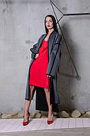 Пальто женское, двухстороннее ,черное/серое, демисезон T-GEMMA1