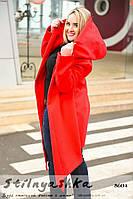 Кашемировый пальто-кардиган большого размера с капюшоном красный, фото 1