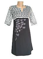 Повсякденна вишита жіноча сукня з гіпюру з квітковим орнаментом
