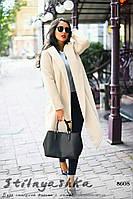 Кашемировый пальто-кардиган большого размера с капюшоном молоко