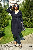Кашемировый пальто-кардиган большого размера с капюшоном синее, фото 1