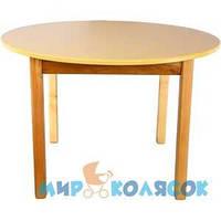 ФИНЕКС ПЛЮС Столик деревянный с цветной круглой столешницей ваниль (033)