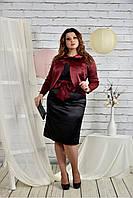 Костюм 770445 Размер 42,44,46,48,50,52,54,56,58,60 женский деловой пиджак платье футляр батал большого размера