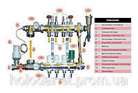 Коллектор Fado в полном сборе на 3 выхода со смесительной группой, термоголовкой Fado, расходомерами.