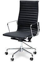 Кресло офисное Алабама Н New черное точная копия дизайнерского кресла Ribbed EA 119 от Charles and Ray Eames