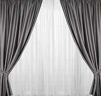 Готовые шторы в залу с плотной ткани