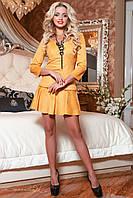 Молодежное женское горчичное платье 2051 Seventeen 42-48 размеры