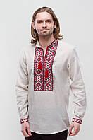 Льняная мужская вышиванка Берегиня Бордо