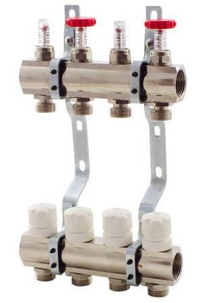 Коллектор Fado в полном сборе на 9 выходов со смесительной группой, термоголовкой Fado, расходомерами., фото 2