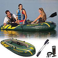 Лодка надувная Intex 68380 SeaHawk-3 Set трехместная с набором 295х137х43