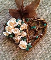 """Кулон сердце ручной работы с авантюрином, кулон """"Сердце роз"""""""
