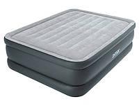 Надувная велюровая кровать intex (64140),203-152-51 см,с электро-насосом