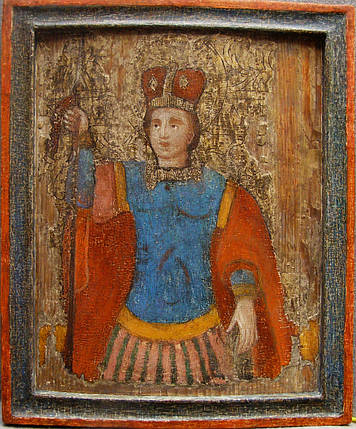 Икона Дмитрий Солунский оплечный    нач 17 века, фото 2