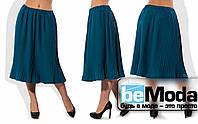 Стильная женская юбка большого размера из плиссированной креп костюмки синяя