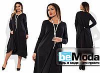 Модное женское платье свободного кроя для полных девушек с застежкой на спине черное