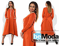 Модное женское платье свободного кроя для полных девушек с застежкой на спине оранжевое